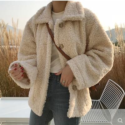 Faux Fur Thick Coat For Women 2018 Autumn Warm Soft Loose Fur Jacket Female Outerwear Button Plush Ladies Casual Winter Overcoat
