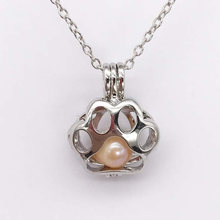 Cat Paws Shape Faux Pearl Bead Cage Locket Pendant Necklace Charm Jewelry(China)