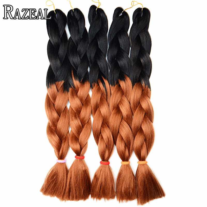 Hair Extensions & Wigs Razeal 24 Inch 100g Ombre Jumbo Braids 5 Pcs Synthetic Brading Hair Extensions Crochet Hair High Temperature Fiber