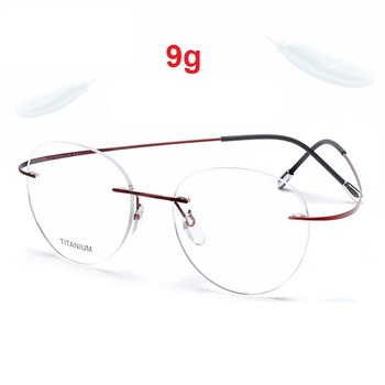Cubojue Round Titanium Glasses Men Women Light Foldable Man Rimless Myopia Diopter Prescription Anti Blue Light Progressive Nerd