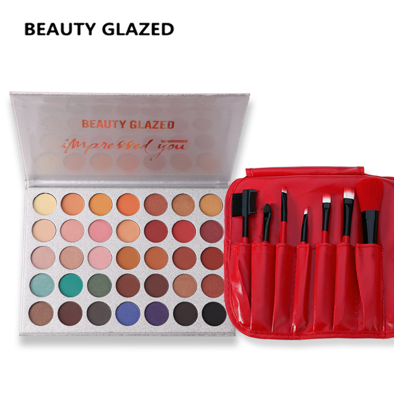 BEAUTY GLAZED 35 Colors In 1 Eyeshadow Palette  Matte Shimmer Eyeshadow + Red Color Makeup Brushes brush tools with bag Hot 3