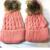 1 Conjunto de Mãe e Bebê Artesanal Crochê Tricô de Lã Gorros Chapéus Com Verdadeira Pele De Guaxinim Outono Wiinter Tampas Quentes