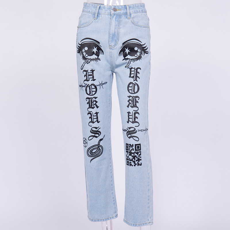 2019 Fashion Big Eyes And Letter Print Jeans Women Straight Denim Trousers Femme Taille Haute Loose Streetwear Dropshipping