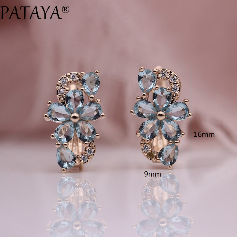 HTB1lXYerSMmBKNjSZTEq6ysKpXas - PATAYA New Water Drop Plum Blossom Dangle Earrings Women Fashion Trendy Jewelry 585 Rose Gold Petal Natural Zircon Blue Earrings