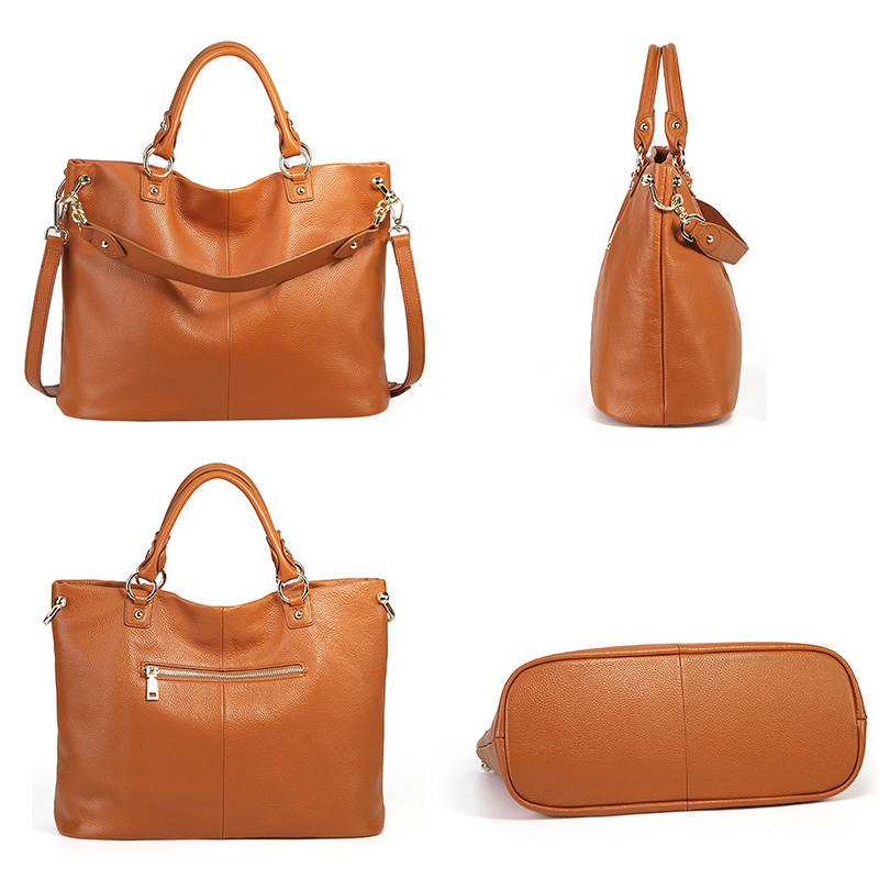 Zency 100% หนังวัวแท้สีเทากระเป๋าถือสีน้ำตาลผู้หญิง Casual Tote ขนาดใหญ่ Lady Crossbody Messenger สีดำ Hobos กระเป๋า-ใน กระเป๋าหูหิ้วด้านบน จาก สัมภาระและกระเป๋า บน   3