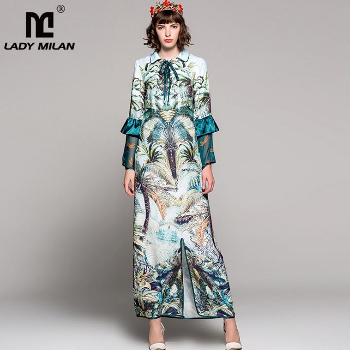 New Arrival Womens Turn Down Collar Long Sleeves Ruffles Printed Split High Street Fashion Straight Long Dresses