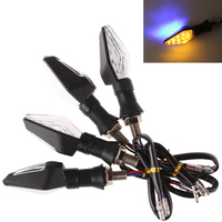 4pcs Lot 12V Universal Motorcycle Turn Signal Light Amber And Blue Color 12 LED SMD Indicator