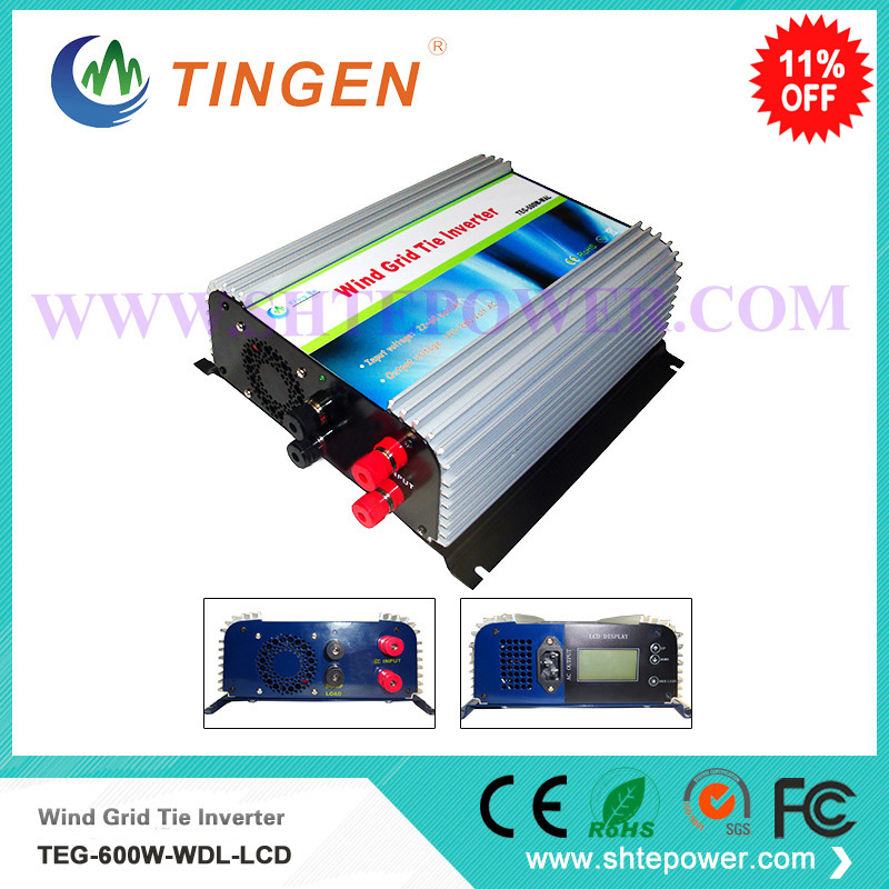 Dc to ac pure sine wave inverters with dump load resistor 600w wind on grid tie inverter ac input 10.8-30v output micro inverter 600w on grid tie windmill turbine 3 phase ac input 10 8 30v to ac output pure sine wave
