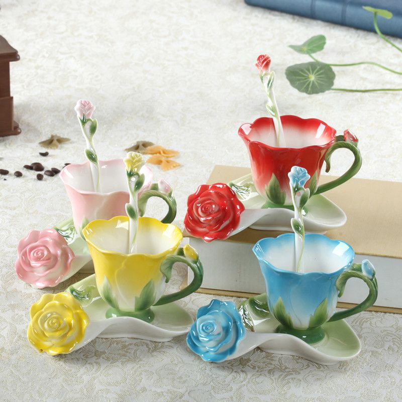 Tea Milk Cup 150ml 3D Rose Enamel Coffee Mugs with Spoon and Saucer Marriage Gift Creative