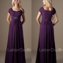 3fca3fcbb729 Eggplant Puprle Long Modest Bridesmaid Dresses With Short Sleeves A-line  Lace Chiffon Wedding Guests