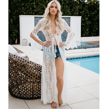 JSMY New Womens Sunscreen Cardigan Long-sleeved Lace-up Sexy Perspective Long Dress