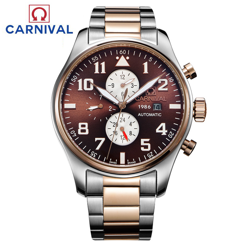 Carnival waterproof Watch Men silver Stainless steel Sapphire Automatic Mechanical Watch relogio masculine
