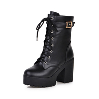 2018 Winter Women Ankle Boots High Heels Black Lace Up Women Martin Boots Sexy Ladies Boots