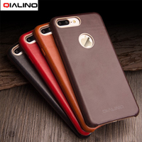 QIALINO Case Cover For IPhone 7 Plus Calf Skin Genuine Leather Coated PC Back Case For