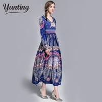 Women printing dress Autumn fashion long vestidos Good quality Women Russian style casual autumn dress