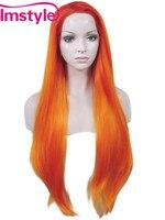 Imstyle Recta Naranja cosplay fake pelucas de 30 pulgadas a prueba de calor del pelo Sintético pelucas delanteras del cordón para cosplay