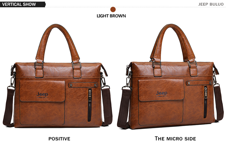 HTB1lXZUeB1D3KVjSZFyq6zuFpXaI Famous Designer JEEP BULUO Brands Men Business Briefcase PU Leather Shoulder Bags For 13 Inch Laptop Bag big Travel Handbag 6013