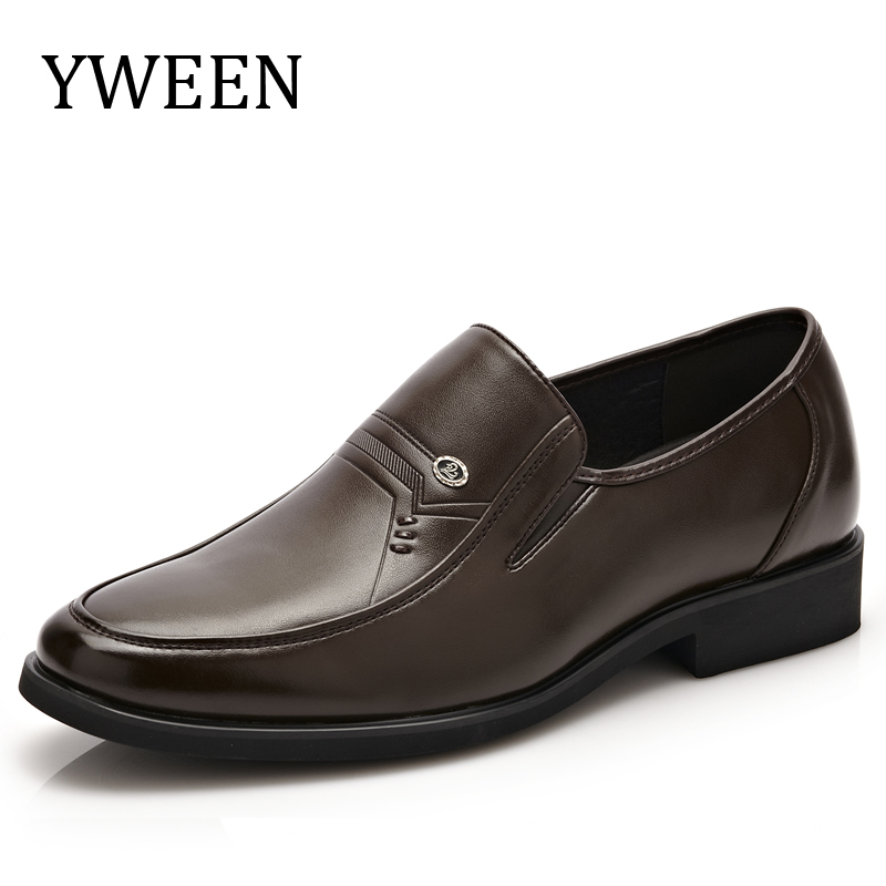 YWEEN Simple Style Men Dress Shoes Slip on Oxford Shoes Split leather shoes for Men