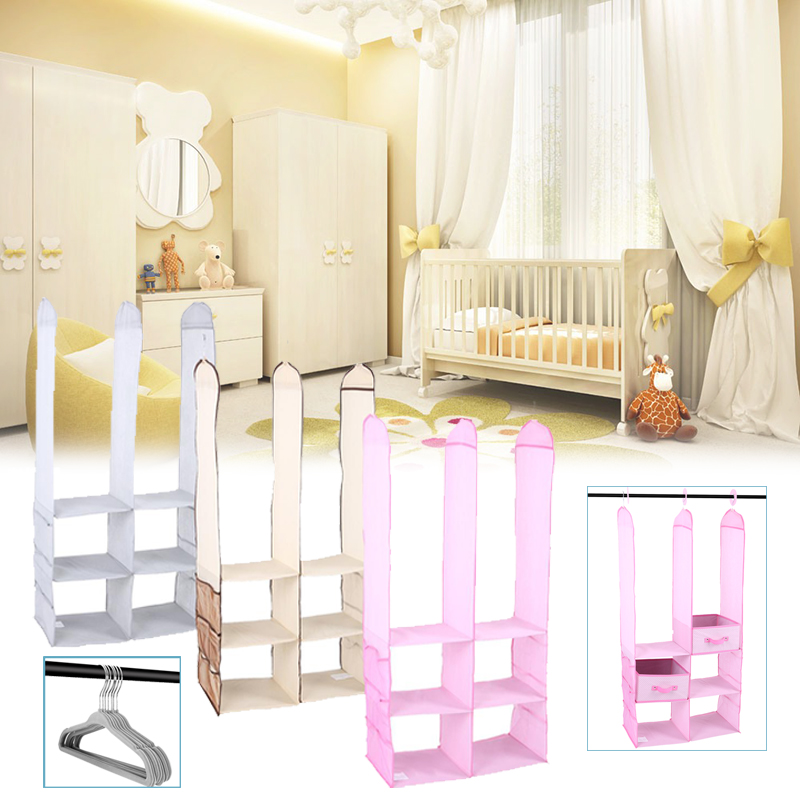 24pcs Children Nursery Closet Organizer Set Baby Clothes Hanging Wardrobe Storage Baby Clothing Kids Toys Organizer Firm In Structure Children Furniture