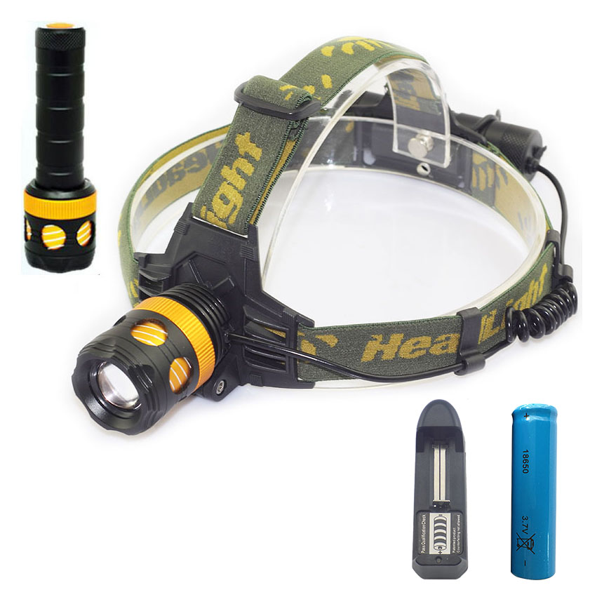 2 in1 LED headlight with flashlight XM T6 headlamp flash light linternas lampe torche with 18650 battery+ AC charger