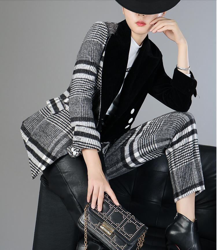 Velour Patchwork Wool Plaid Blazer Coat Female Long Sleeve Asymmetrical Women`s Suits 2019 Spring Fashion Clothes MA19 (2)