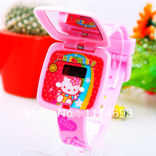 b78ddb4936a Lovely Children Watch Silicone watch with mirror cartoon kids watch LED  watch digital watch girl s watch 2014 new arrival-in Children s Watches  from Watches ...
