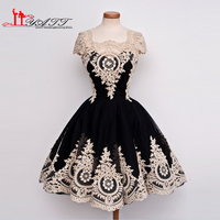 Real Photo 2017 Amazing Vintage Arabic Ball Gown Gold Lace Appliques Cap Sleeves Sexy Cocktail Dress Homecoming Gown For Girls