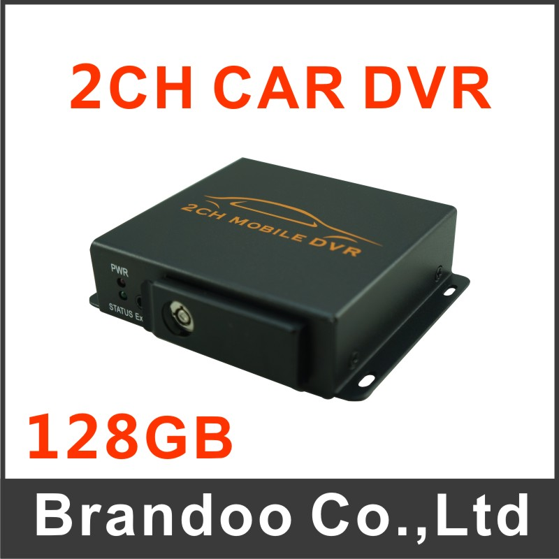 Free shipping 2 channel car dvr, 128GB sd, auto recording