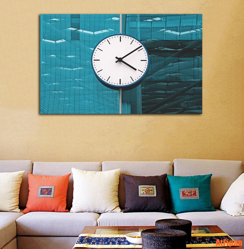 No Frame Colock Building Wall Canvas Art Rectangle Painting Printed ...