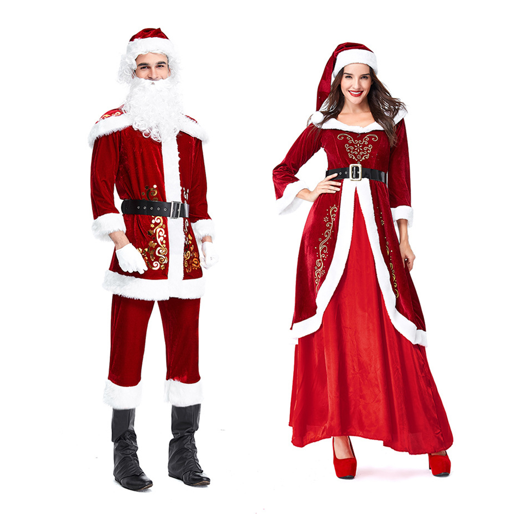Couple Santa Claus Costume Adult Christmas Clothes Full Set Cosplay Man Women  Deluxe Santa Red Couples Dress Suit For Party 5df09a476