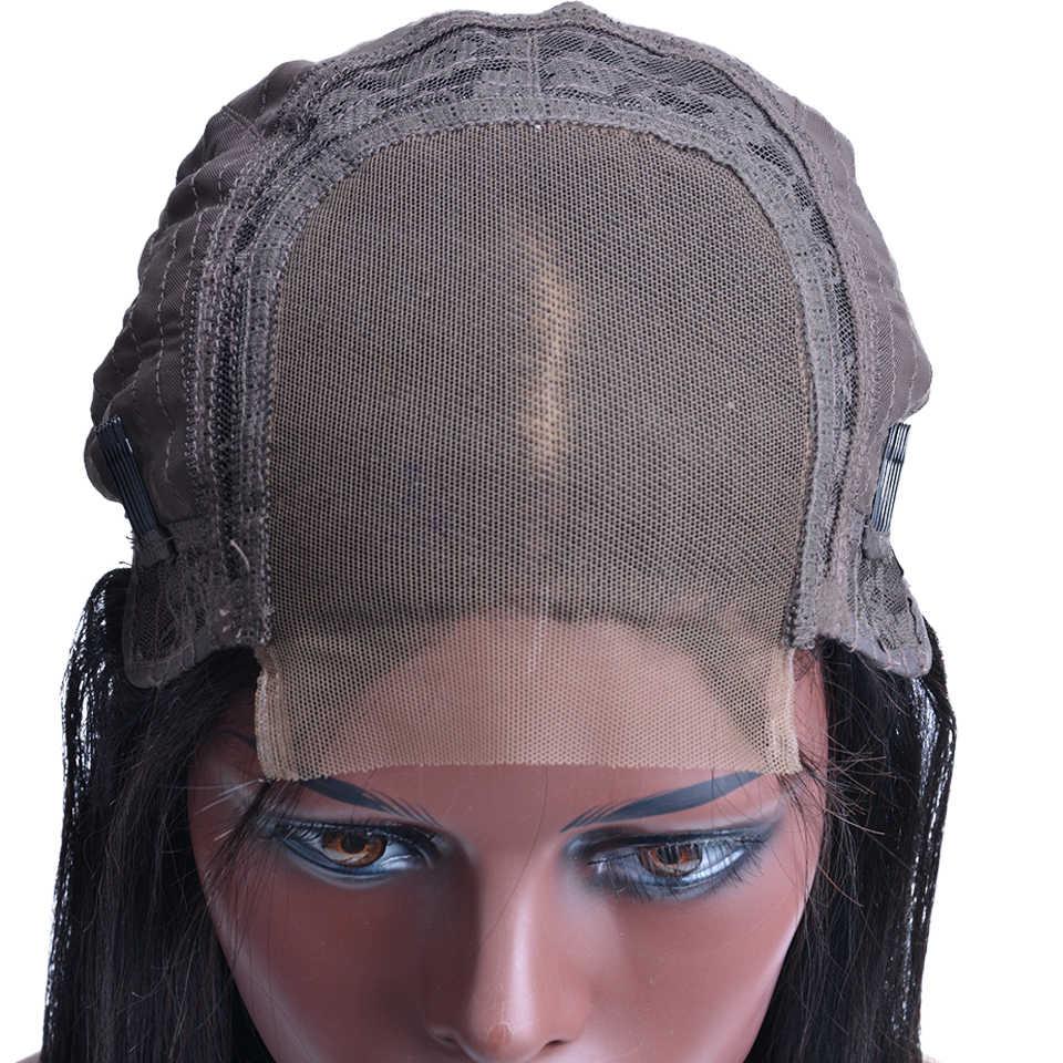 150% плотность парик с закрытием шнурка с волосами младенца перуанские прямые кружева Закрытие человеческих волос парики для черных женщин Remy 4x4 закрытие парик