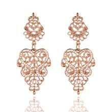 New Vintage Ethnic Bohemian Gold Silver Plated Hollow Alloy Pierced Earrings Geometric Flower Pattern Drop Earrings For Women