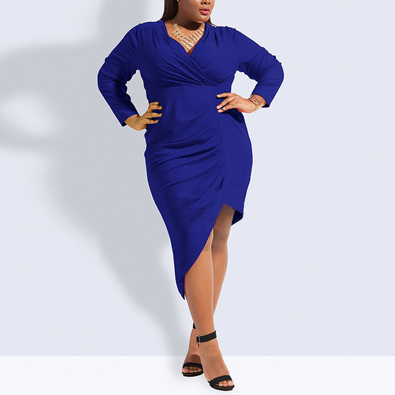 L-6XL Large Size 2019 Summer Autumn Dress Blue Red Black V-Neck Casual Elegance Dress Women Dresses Plus Size Women Clothing