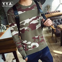 Winter Mens Camo Knitted Sweater Casual Slim Fit Color Printed Pull Hommes Streetwear Comfort O Neck Breathable Warm Pullover