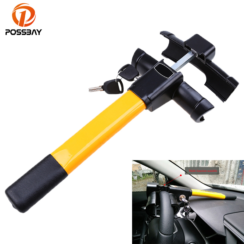 POSSBAY Automobile Car Anti-theft Steering Wheel Lock Security With Keys Interior Locks Accessories Car Safety System