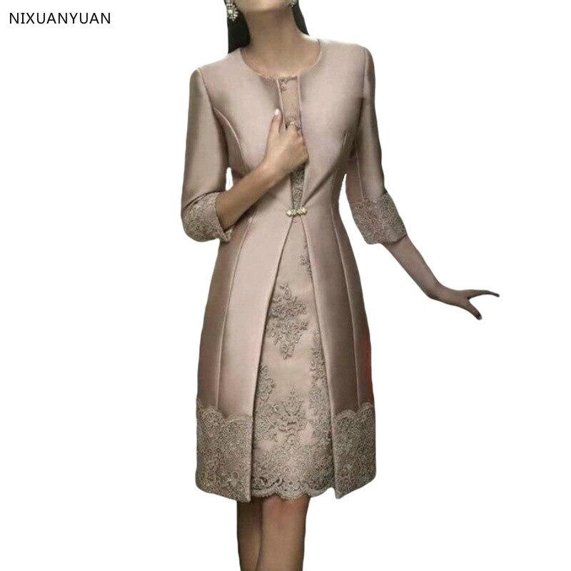 Dentelle élégante courte mère de la mariée robes avec veste pantalon costumes Satin mariage mère robe marié mère robes