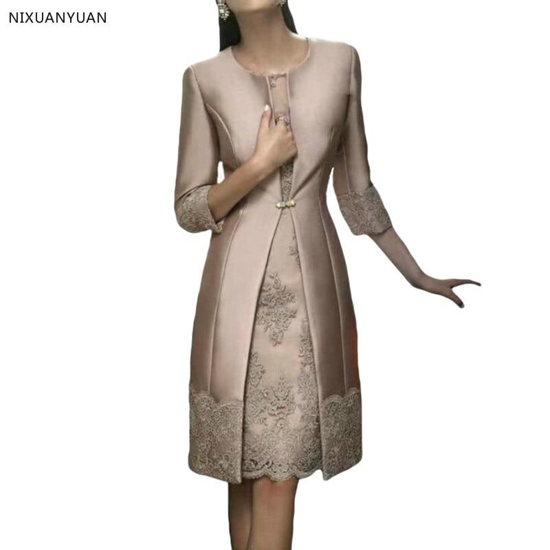 Elegant Lace Short Mother Of The Bride Dresses With Jacket Pant Suits Satin Wedding Mother Dress Groom Mother Dresses