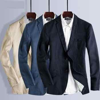 New arrivla fashion men autumn Spring Summer Linen Cotton Suit Men Thin Mens Casual Jacket high quality plus size M L XL 2XL 3XL - DISCOUNT ITEM  32 OFF Men\'s Clothing