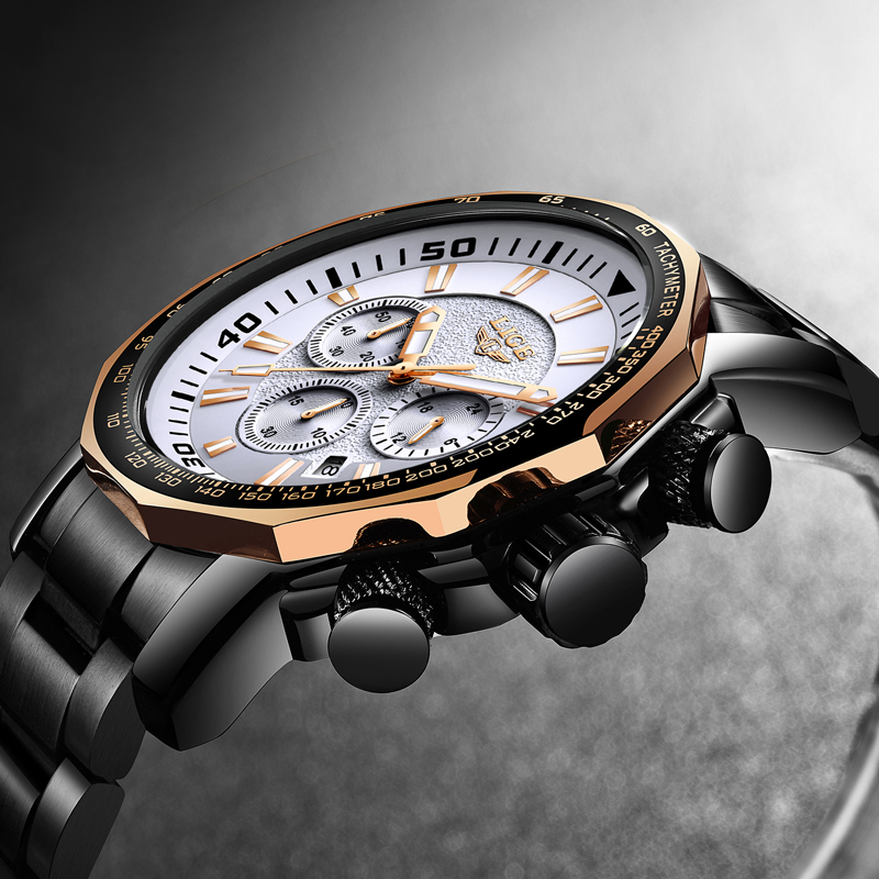 LIGE Fashion Brand Men Watch All Steel Business Quartz  Sport Military Waterproof Watchs Men Relogio Masculino Chronograph Watch