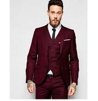 2016 עיצוב חדש גברים חתן חליפות חתונה טוקסידו חליפה רשמית שני כפתורים בורגונדי גברים מעיל חליפת 3 Pieces תלבושות Homme