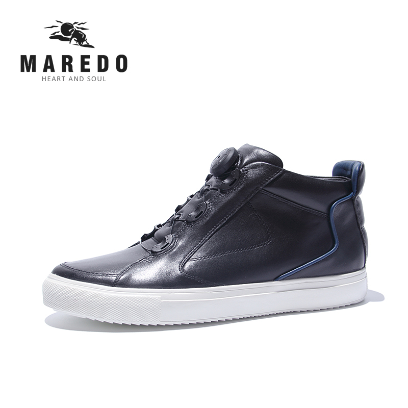 MAREDO men casual shoes  BOA Lacing Boot System Waterproof breathable genuine leather male shoes casual waterproof boot silicone shoes cover w reflective tape for men black eur size 44 pair