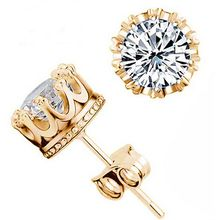 Mens Rhinestone Gold Crown Earrings Studs With Stones For Women Earings Wedding Earrings Fashion Jewelry Wholesale YE021-4