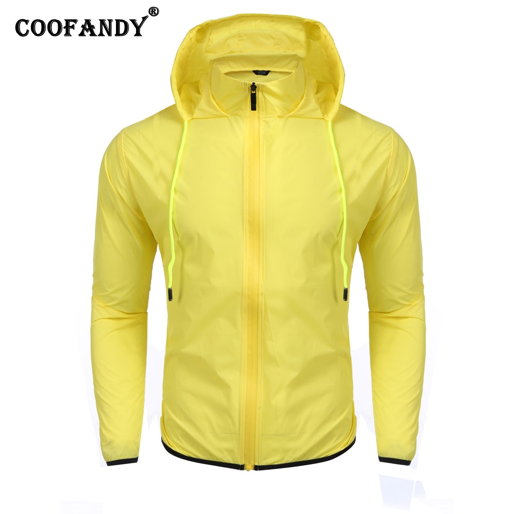 COOFANDY Men Long Sleeve Thin Waterproof Jacket Windbreaker Rain Coat Outerwear Casual Style