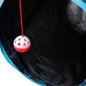 Image 3 - Tubo dobrável do jogo do animal de estimação do túnel do gato com a bola para o gatinho gatos coelhinhos do divertimento 5 buracos brinquedos do animal de estimação