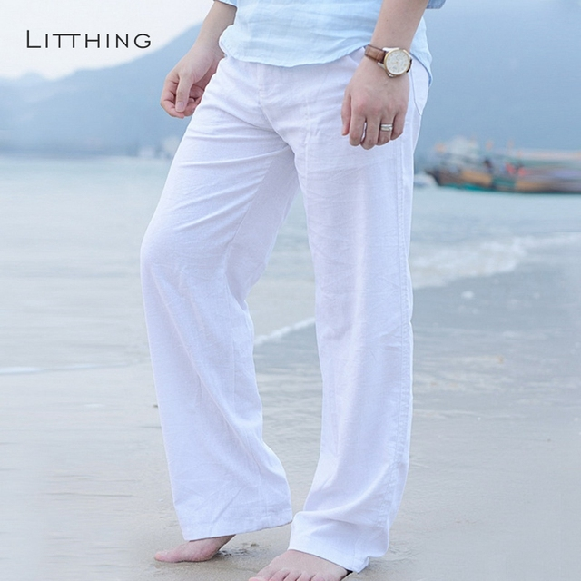 Litthing New Top quality Men's Summer Casual Pants Natural Cotton Linen Trousers White Linen Elastic Waist Straight Men's Pant