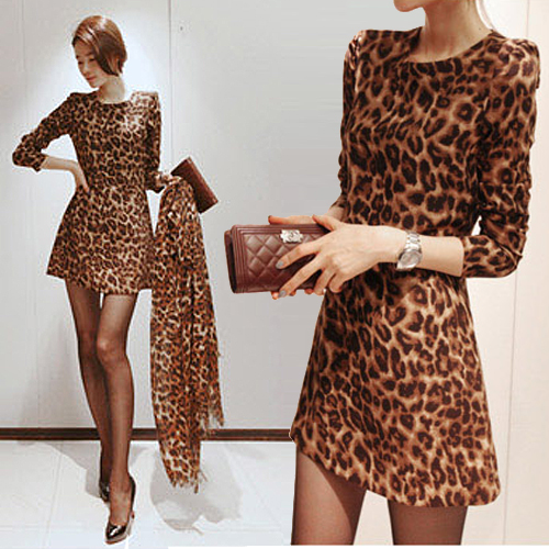 2014 new spring leopard print velvet compound denim stretch fabric dress  scarf sexy spoon neck 3 4 sleeve mini dress-in Dresses from Women s  Clothing on ... 3575123b6