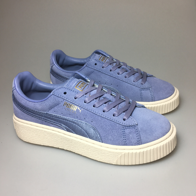 size 40 3876b d4d7c US $53.02 17% OFF|PUMA FENTY Suede Cleated Creeper Women's First Generation  Rihanna Classic Basket Suede Tone Simple Badminton Shoes-in Badminton ...