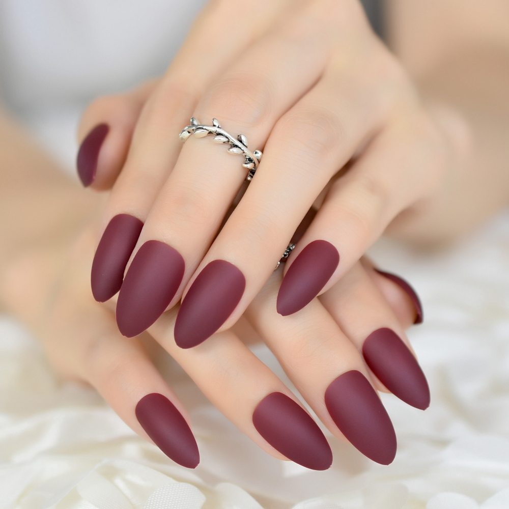 Fake Nails: Colour Matte Press On Nails Maroon Red Almond Fake Nail