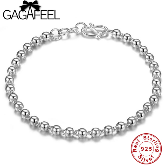 Gagafeel 925 Sterling Silver 4mm Ball Chain Bracelet Trendy Jewrly For Women Real Charm
