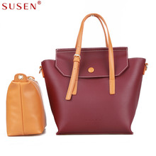 SUSEN 2043 Women Bag Handle Shoulder Bag with Small Bag 2pcs Set Top PU Leather Classic